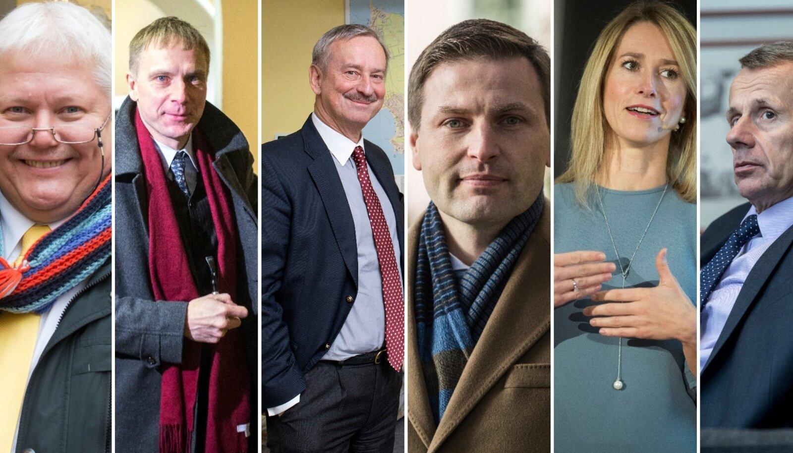 Rein Lang, Eerik-Niiles Kross, Siim Kallas, Hanno Pevkur, Kaja Kallas ja Jürgen Ligi