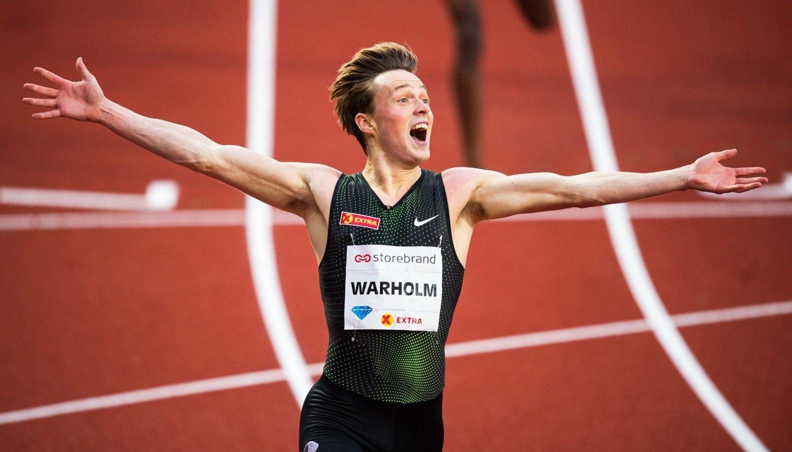 190613 Karsten Warholm of Norway celebrates after winning the men s 400 meter hurdles during Bislet