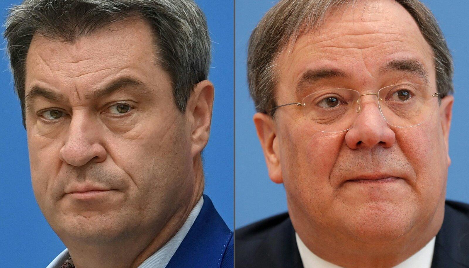 Kaotaja ja võitja: Markus Söder (vasakul) ja CDU kantslerikandidaadiks valitud Armin Laschet