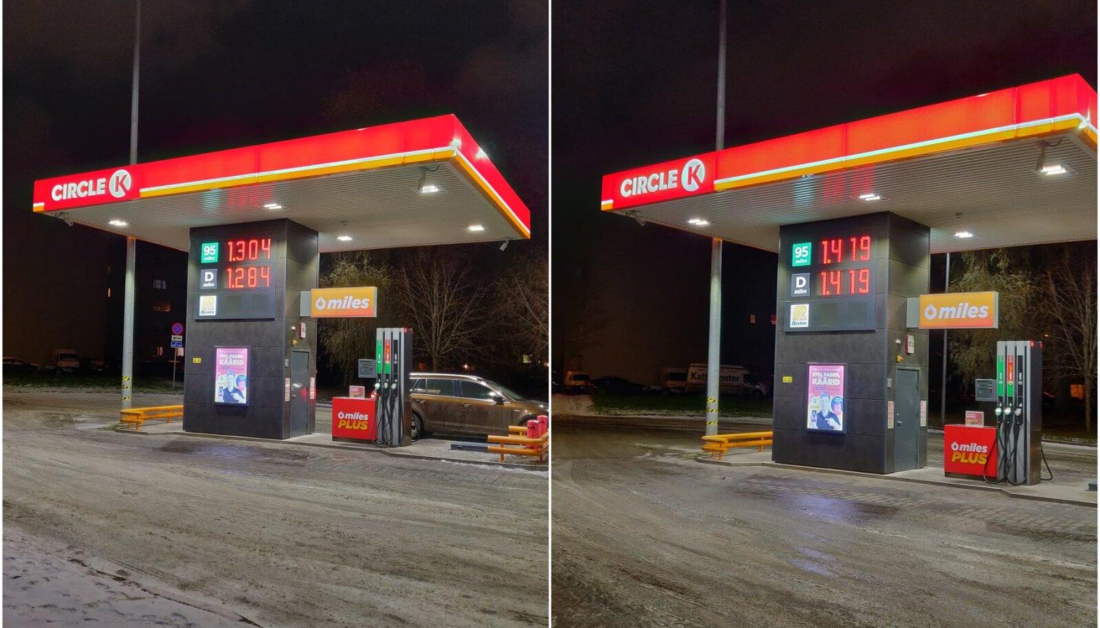 Kütuse hinnad Tallinnas Tööstuse tänaval 2. ja 3. detsembril