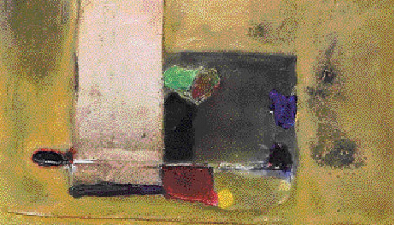 """Üks Rein Kelpmani uuemaid maale """"Värviline hingetõmme"""" on väheseid näitusetöid, kus võib kohata rohkem värvi."""