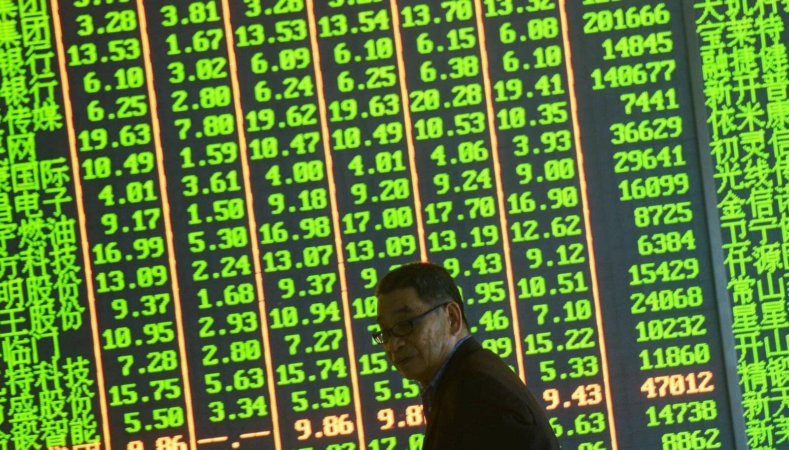 Hiina investor möödub börsiekraanist, kus võimutseb roheline värv. Aasia börsidel näitab roheline langust ja punane tõusu, vastupidiselt meie tavadele.