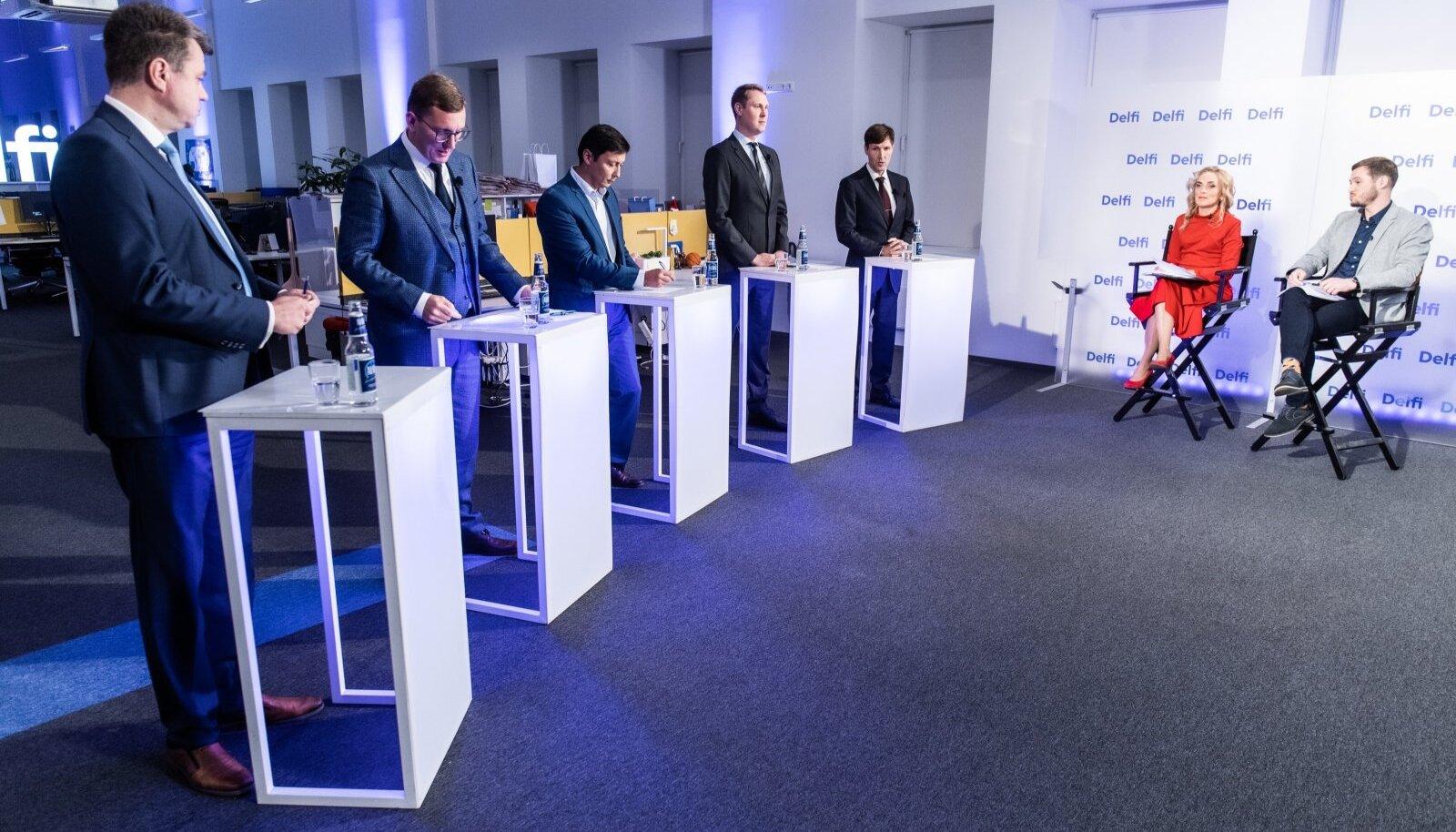 Valimisdebatti juhtisid Vilja Kiisler ja Joosep Tiks, oma seisukohti esitasid (vasakult) Urmas Reinsalu, Kristen Michal, Mihhail Kõlvart, Raimond Kaljulaid ja Martin Helme.