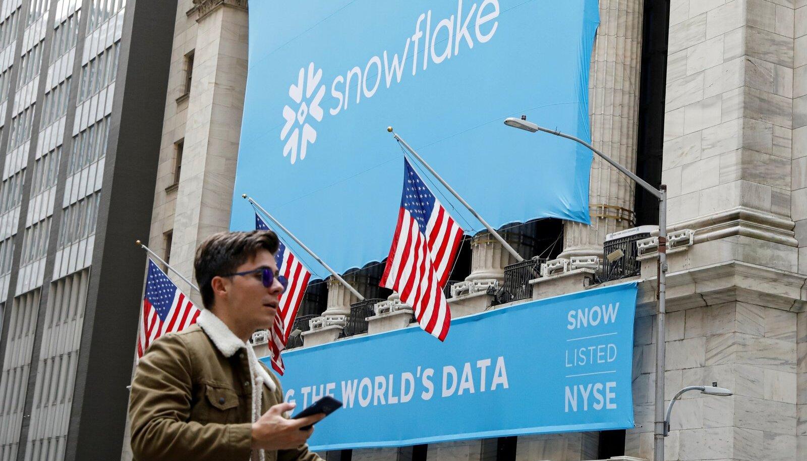 343 miljoni dollarilise 12 kuu kahjumiga Snowflake'i turuväärtus kerkis börsile minnes 64 miljardi dollarini.