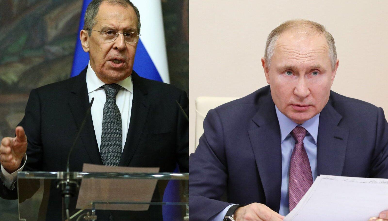 Vasakul Venemaa välisminister Sergei Lavrov, paremal Venemaa president Vladimir Putin