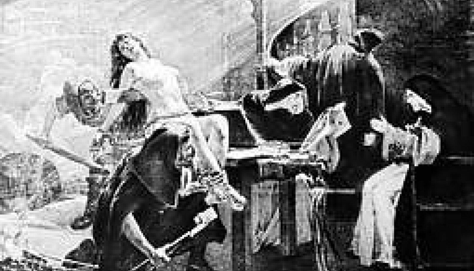 """Uue aja fantaasiad: Pilt meenutab stseeni Victor Hugo romaanist """"Jumalaema kirik Pariisis"""", kus piinatakse mustlastüdruk Esmeraldat. Keskaegne tegelikkus oli vähem erootiline ja igavam. © Bettmann/CORBIS"""