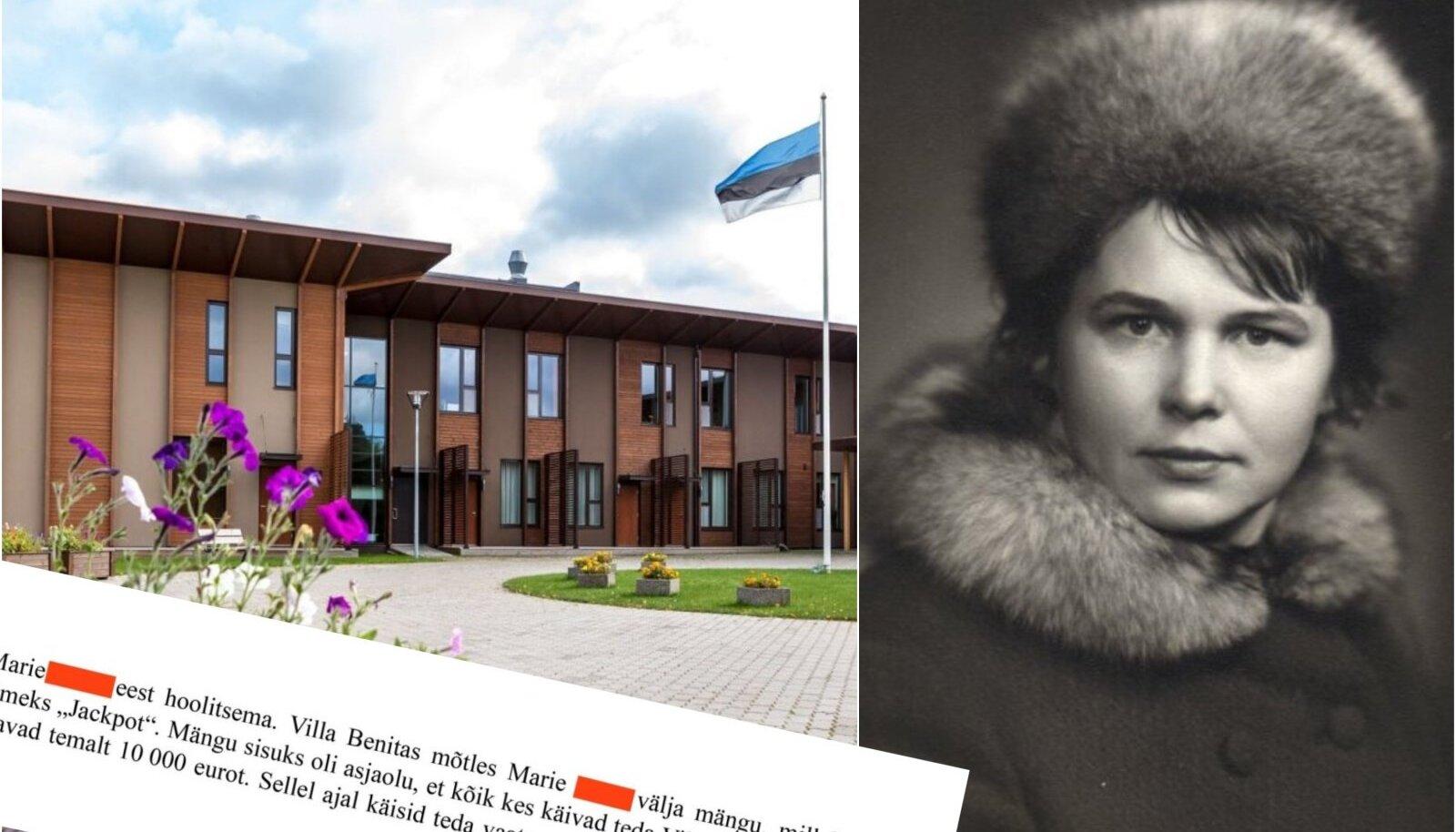 """LOOSIÕNN NAERATAS: Politsei kirjutas üles hooldaja jutu, kuidas Marie (fotol nooruspõlve pildil, mis talle endale väga meeldis) korraldas noobli erahooldekoduna tuntud Villa Benitas """"Jackpoti"""" loosimisi."""