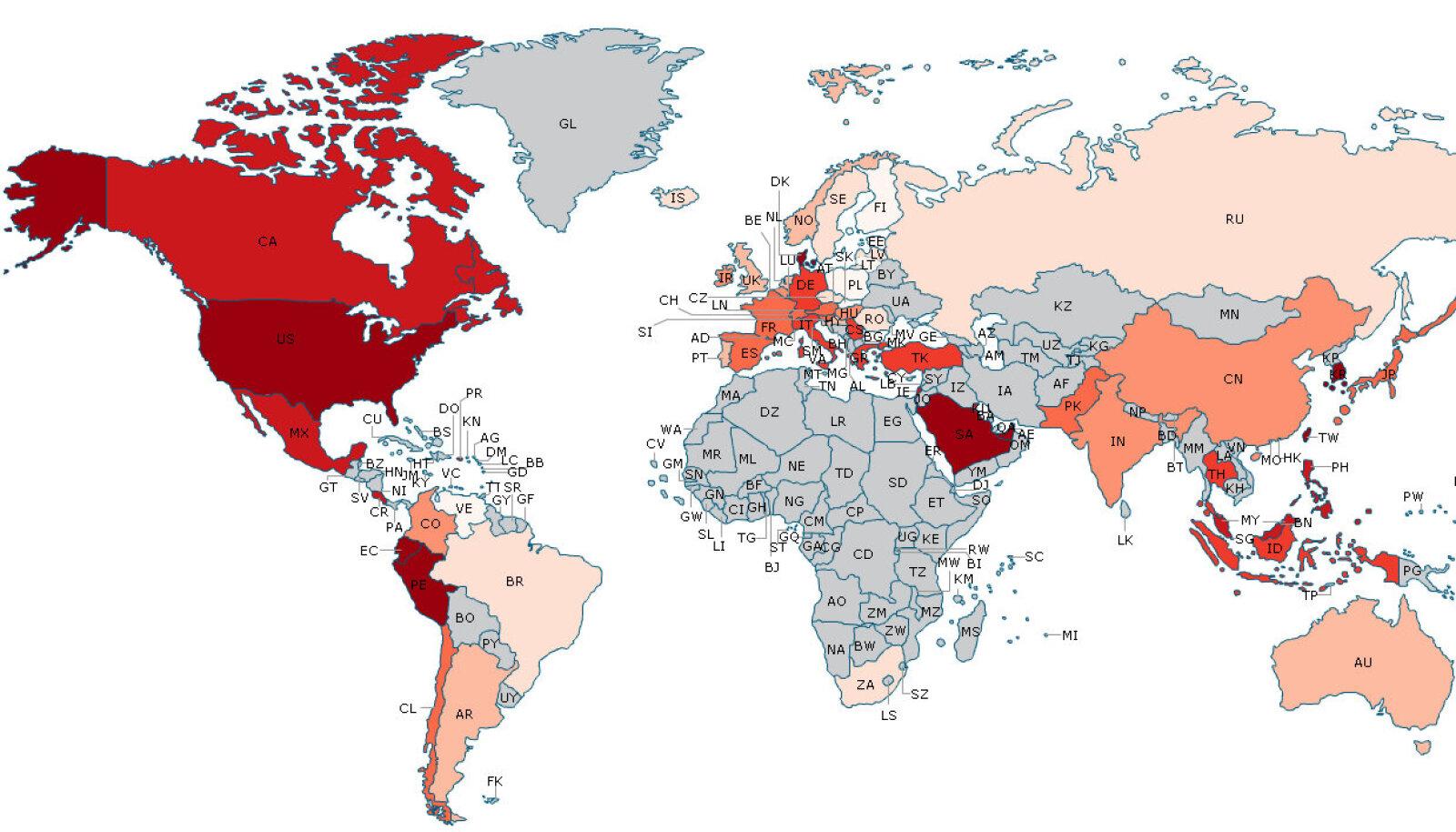 Maailma empaatiakaart.