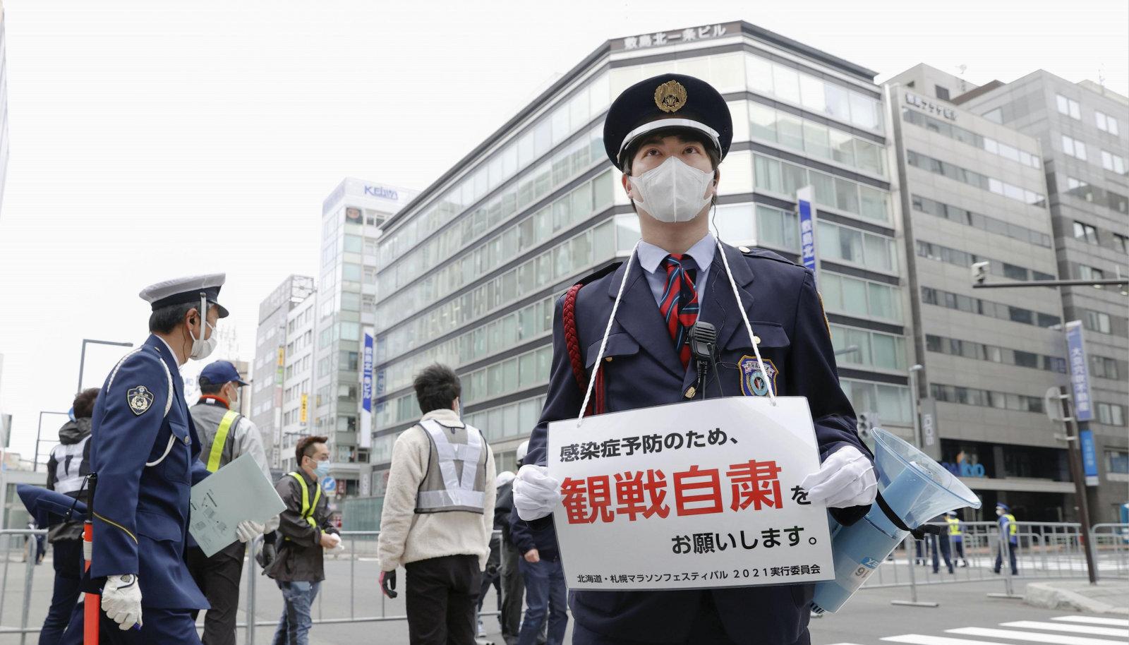5. mail, kui Sapporos peeti poolmaratoni, kutsusid võimud samuti inimesi üles mitte raja äärde kogunema.