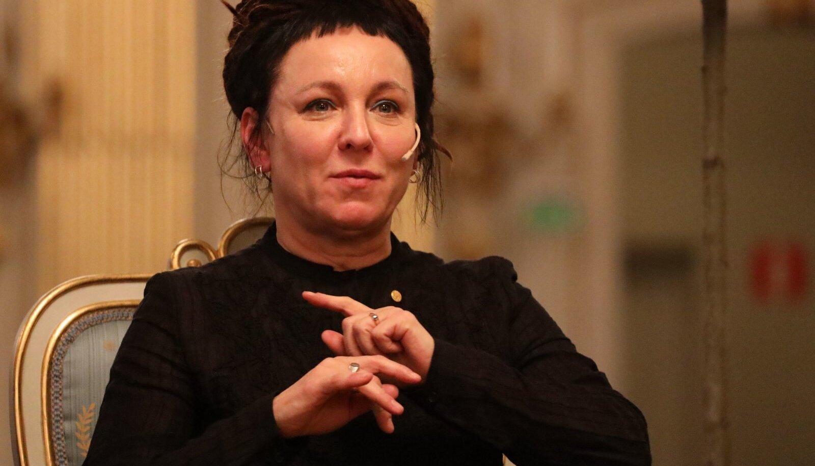 POOLA NOBELIST: Kirjanik Olga Tokarczuk (59) detsembris 2019 Stockholmis Nobeli kirjandusauhinnaga seotud pressi-konverentsil.