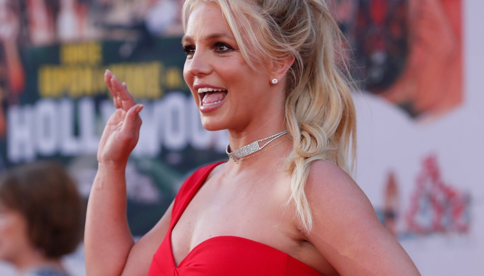 """FILE PHOTO: Britney Spears poses at the premiere of """"Once Upon a Time In Hollywood"""" in Los Angeles"""