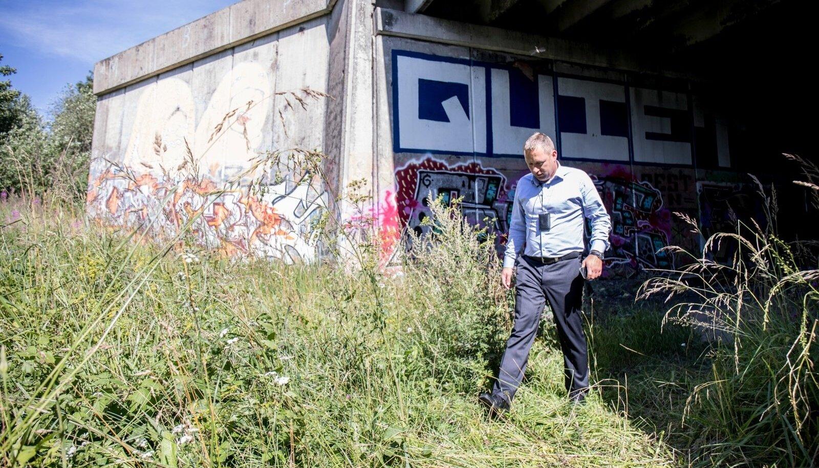Urmet Tambre näitab, et Laagna tee lõpus asuva mahajäetud trammidepoo ümber kõrgub hein, mis varjab tunnelis toimuva täielikult.