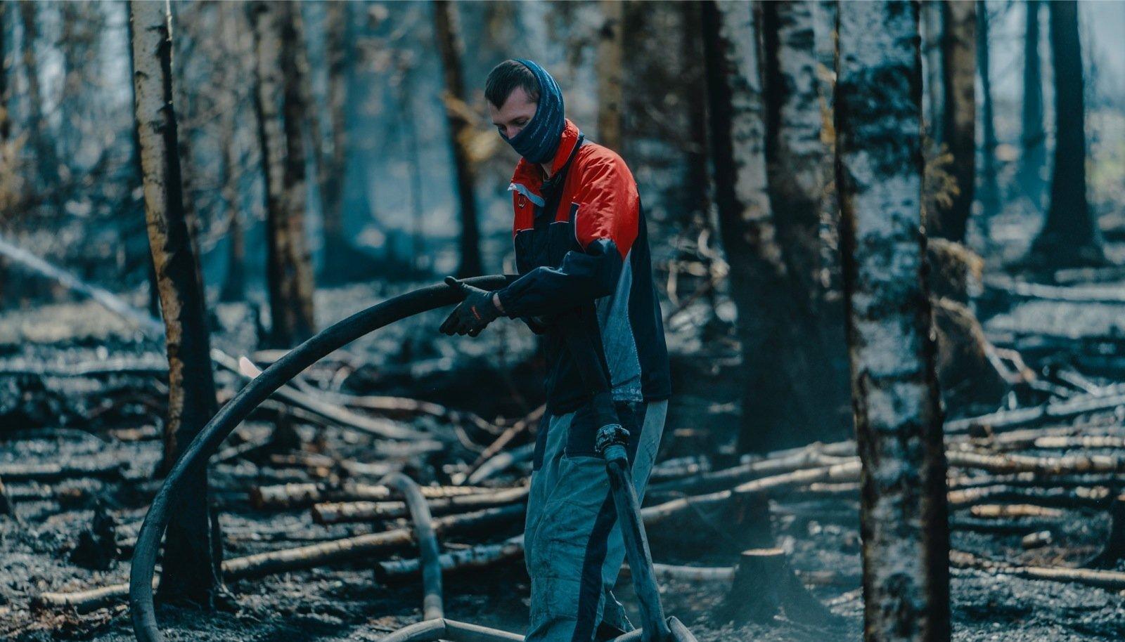 Vabatahtlik Karel kustutab metsapõlengut.