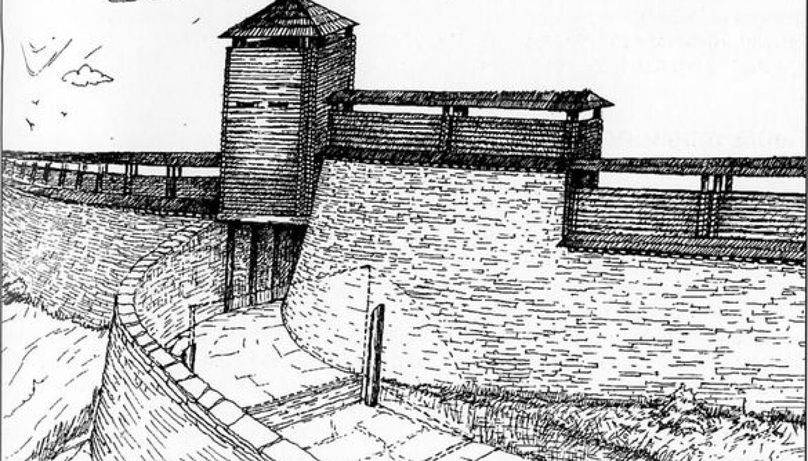 Varbola linnus: Väravakäigu ja vallidepealse rajatise virtuaalne rekonstruktsioon.