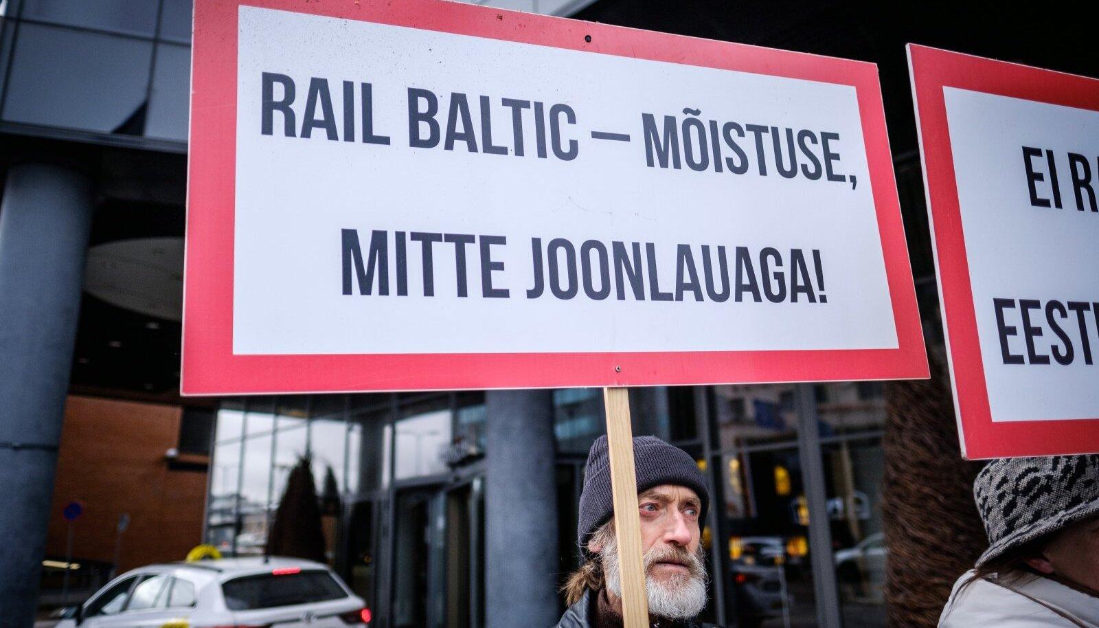 Rail Balticu vastane protest Swissoteli ees 10.04.2018