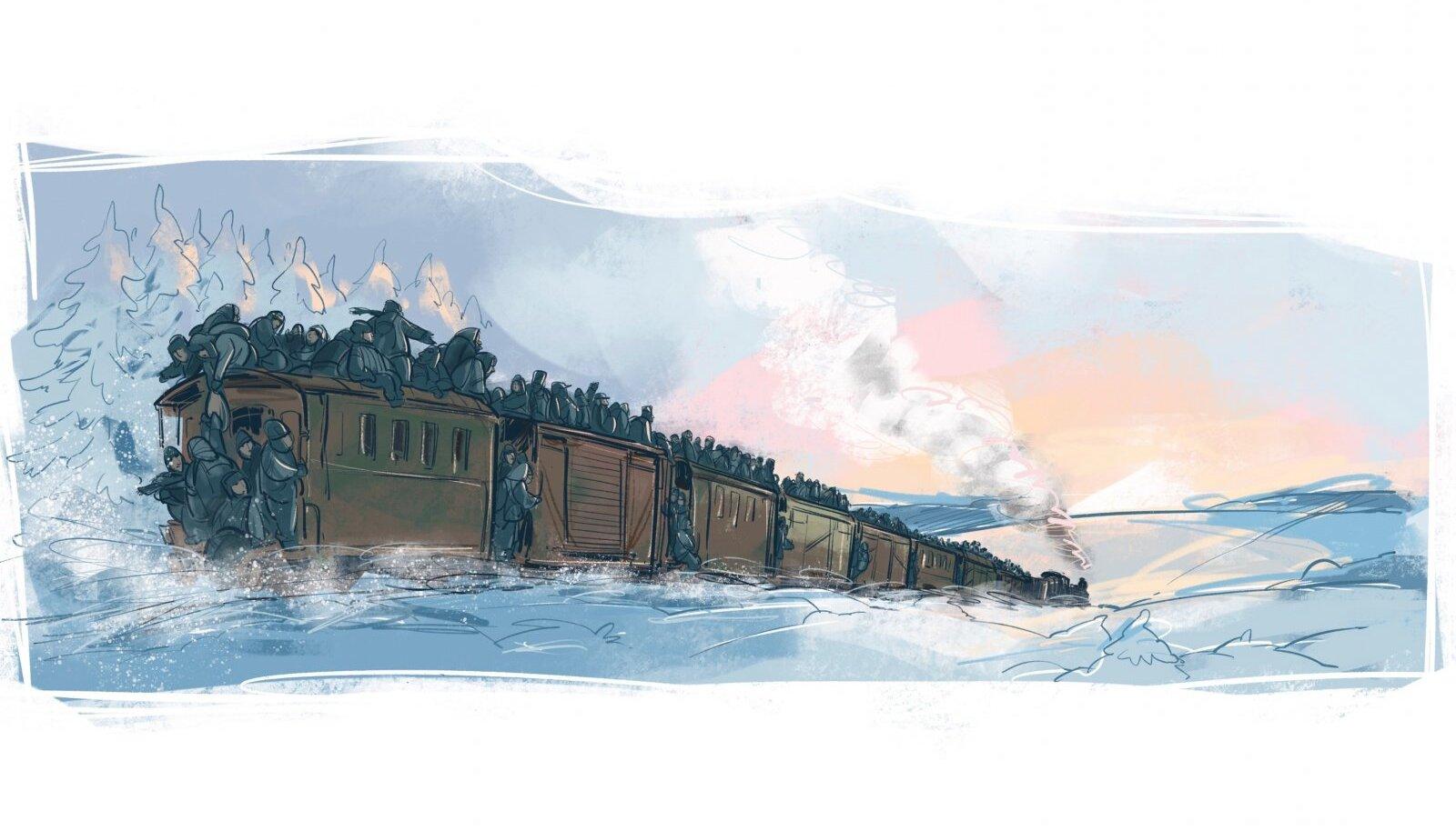 """Aastatel 1946–47 olid idast Eestisse tulevad rongid ühtäkki täis näljahädas inimesi, keda rahvasuus hakati nimetama """"kotipoisteks""""."""