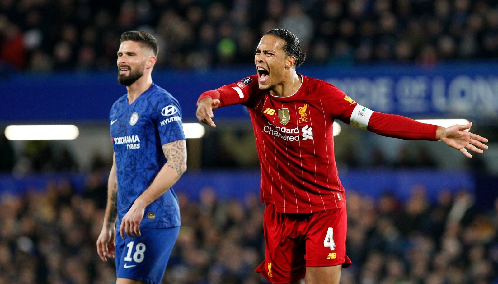 Virgil van Dijk of Liverpool barks orders during the The FA Cup round of 16 match between Chelsea and Liverpool at Stamf