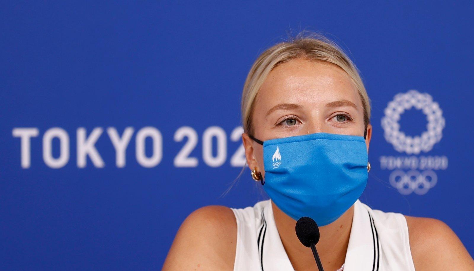 Anett Kontaveit olümpiakülas pressikonverentsil.