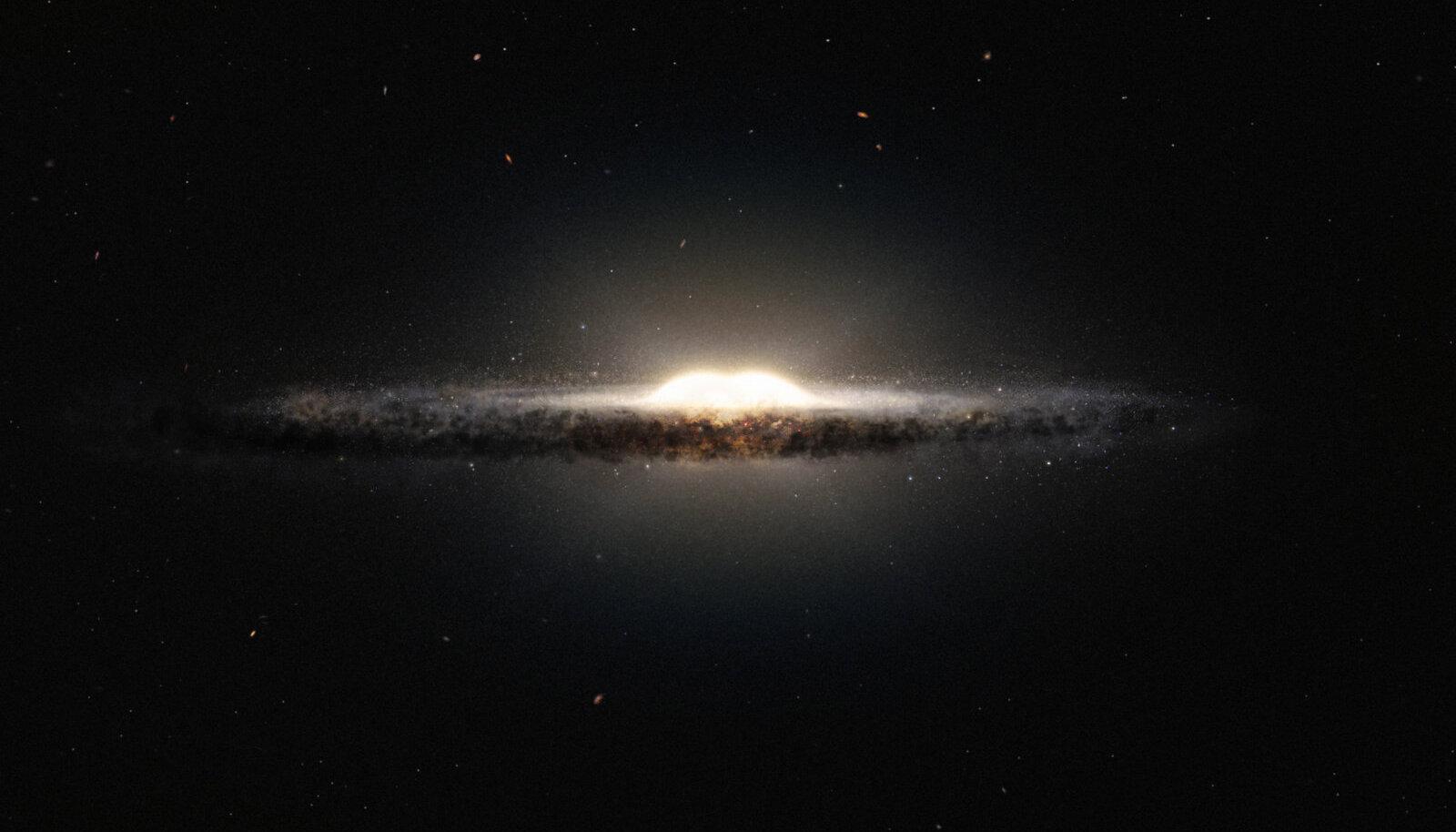 Kunstniku nägemus: milline paistaks Linnutee keskne osa meie galaktika äärealadelt (Pilt: Wikimedia Commons / ESO, NASA, JPL-Caltech, M. Kornmesser, R. Hurt)