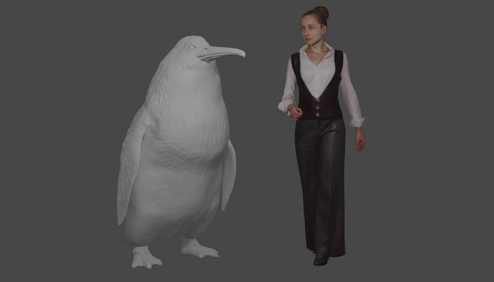 Canterbury muuseumi illustratsioon kujutab pingviini suurust inimesega võrreldes.