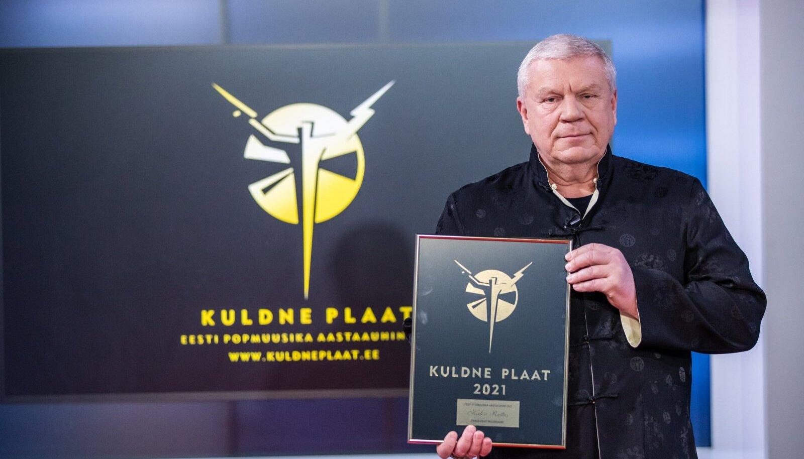 VISA VÕITLEJA: Kalev Rattus sai 2021. aastal Kuldse Plaadi tänutäheks oma töö eest Eesti autorite esindamisel.