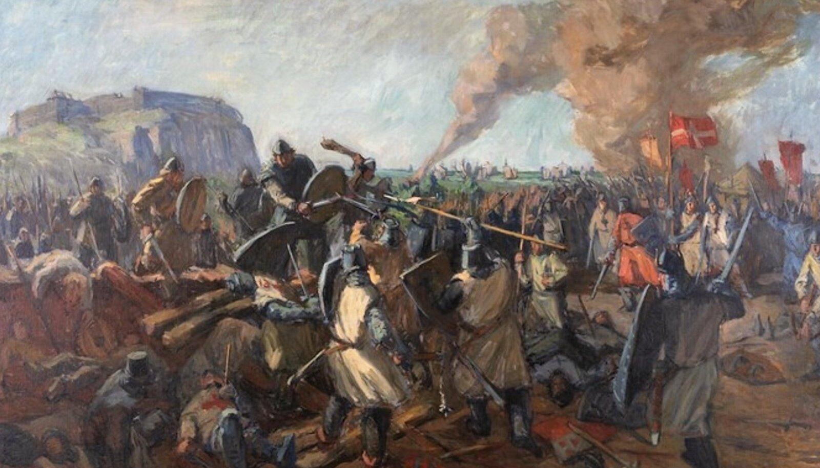 """MÜÜT: Märt Bormeistri maal """"Lahing Lindanise all 15. juunil 1219"""". Niisugust vägevat linnust, nagu on näha taamal Toompeal, pole seal siiski kunagi olnud."""