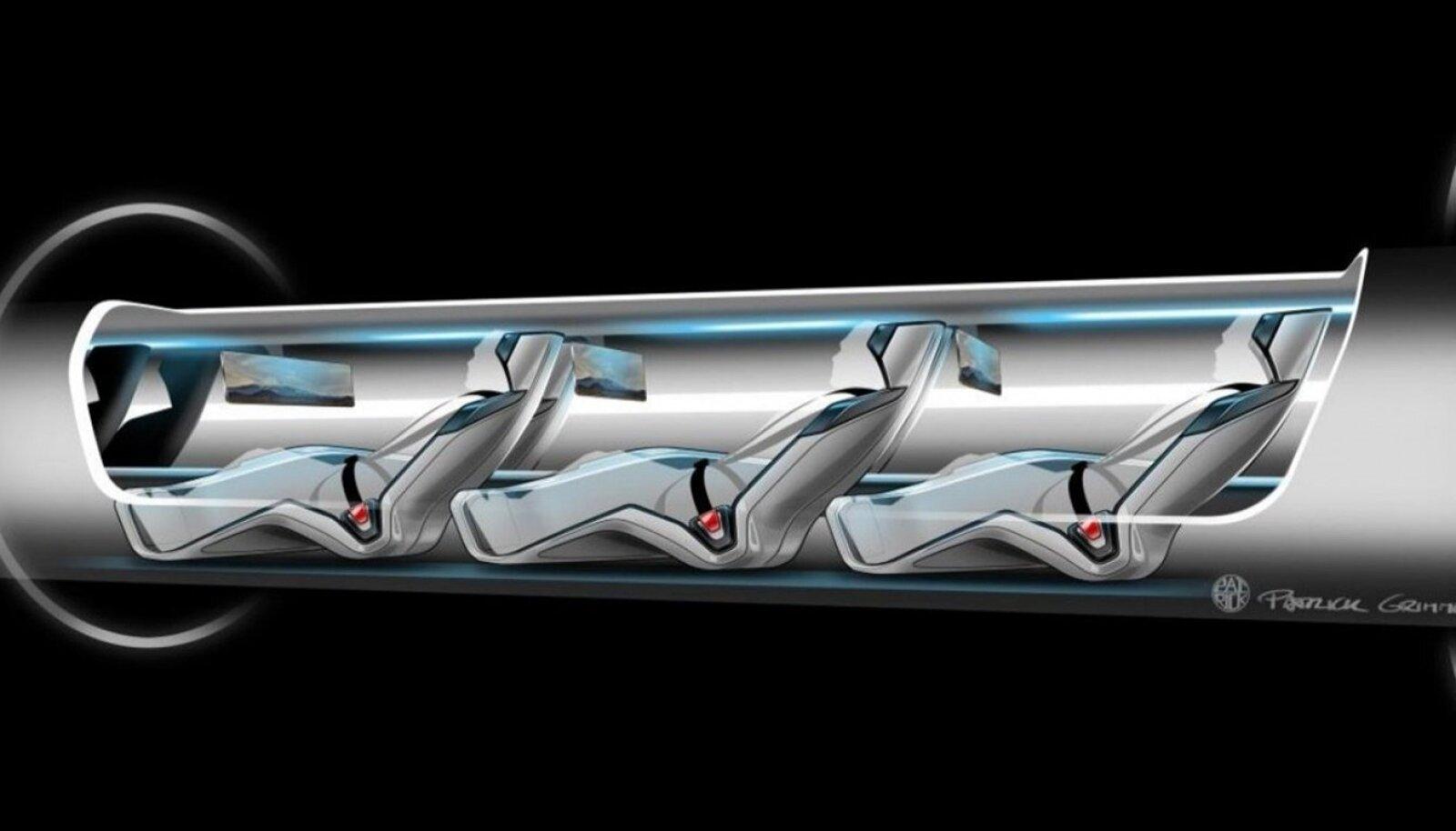 Ideelahendus, kuidas asetseksid reisijad Hyperloopis.