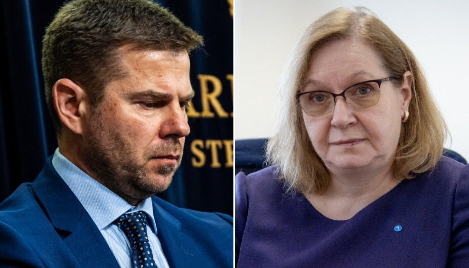 Vasakul siseminister Kristian Jaani. Paremal justiitsminister Maris Lauri.