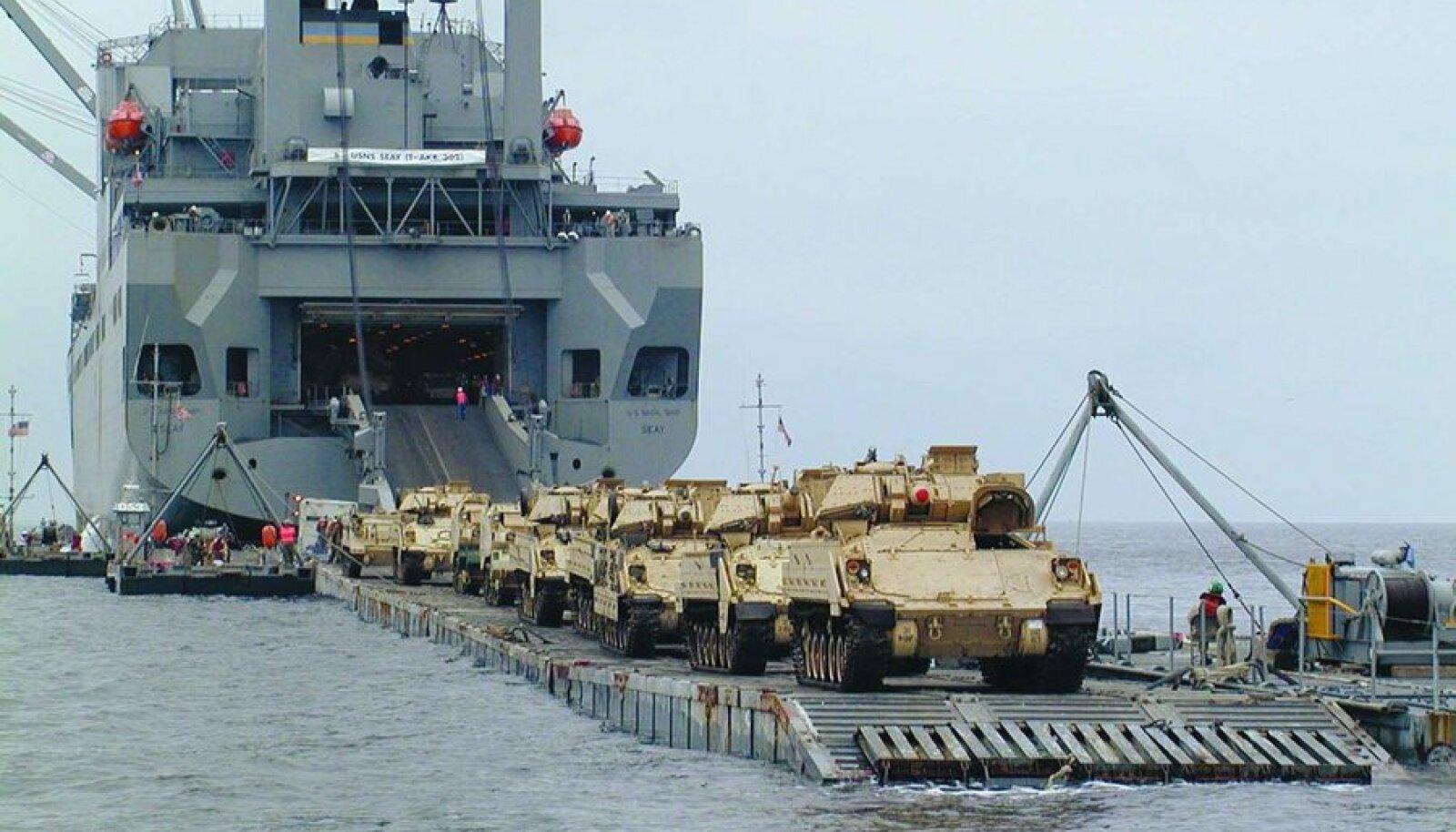 USA mereväe transpordilaev, Baltopsi peategelane, jõuab Paldiskisse 7. juunil. Foto: USA merevägi