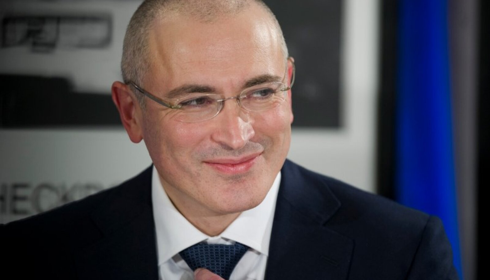 Freed Russian fomer oil tycoon Khodorkovsky reacts during his news conference in the Museum Haus am Checkpoint Charlie in Berlin