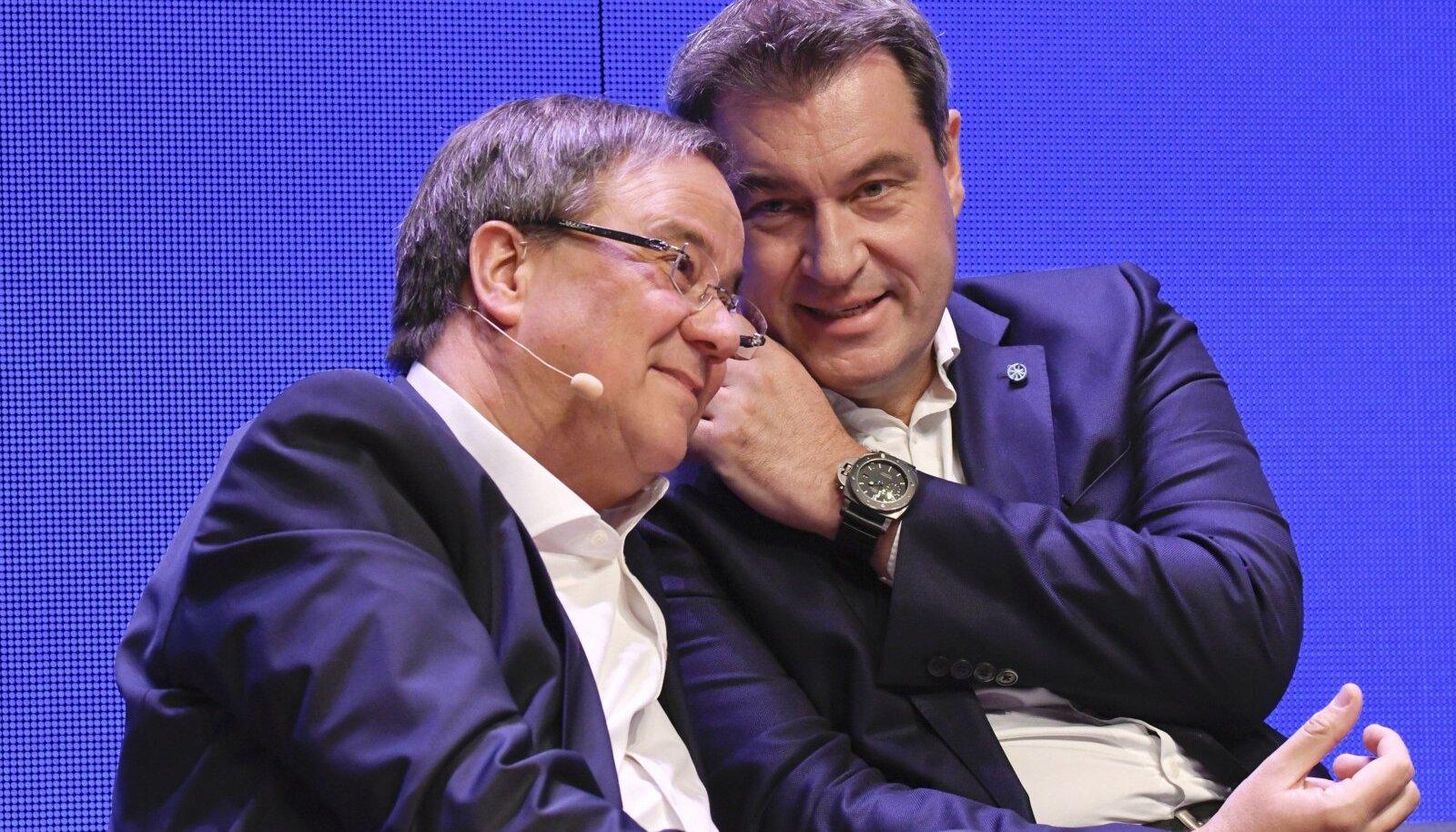 KONSERVATIIVIDE JUHTNINA: Armin Laschet (vasakul) on CDU esimees, kuid tema peamine konkurent on CSU juht Markus Söder (paremal).