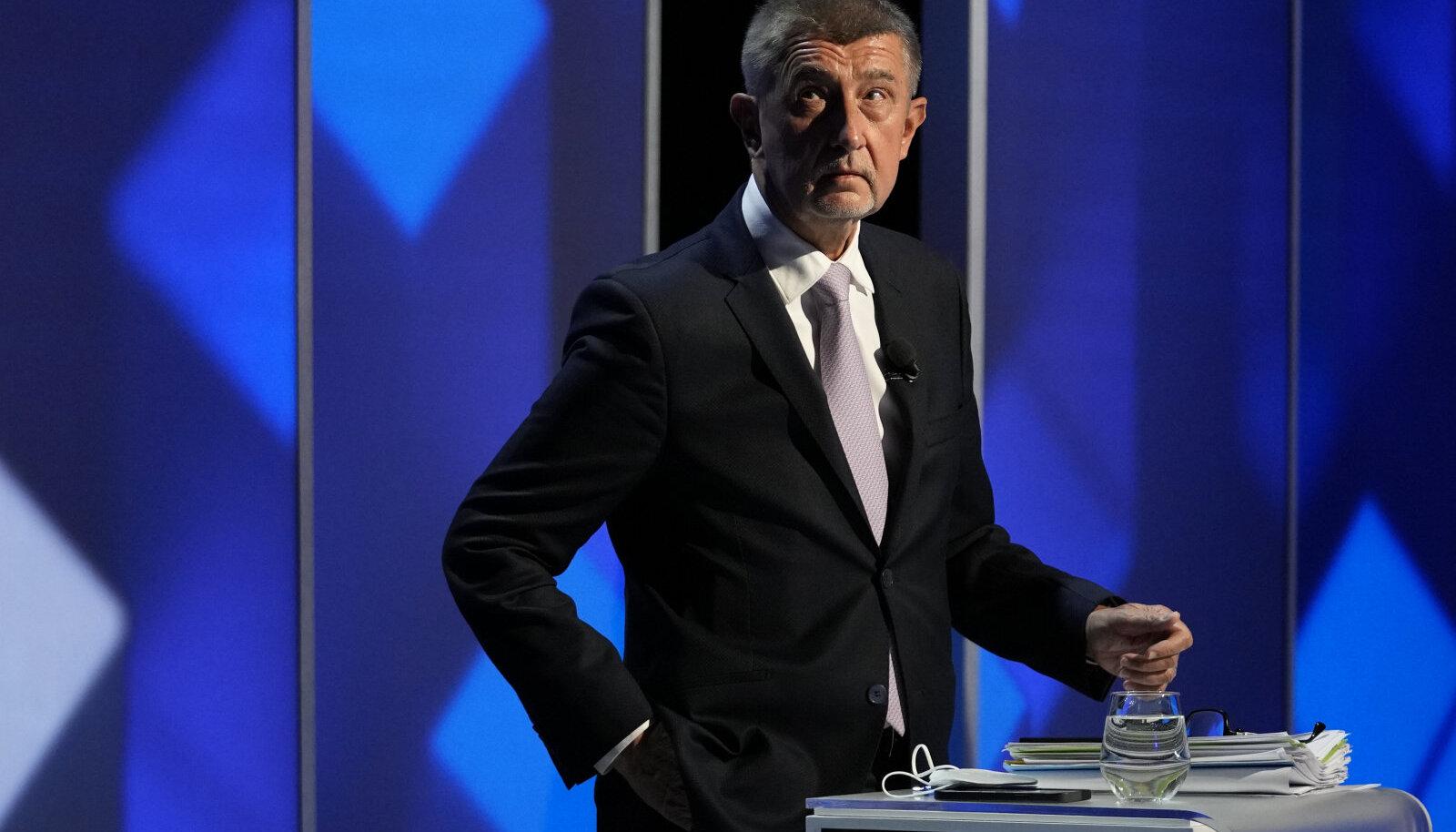 Tšehhi peaminister Andrej Babiš parteijuhtide teledebatis.