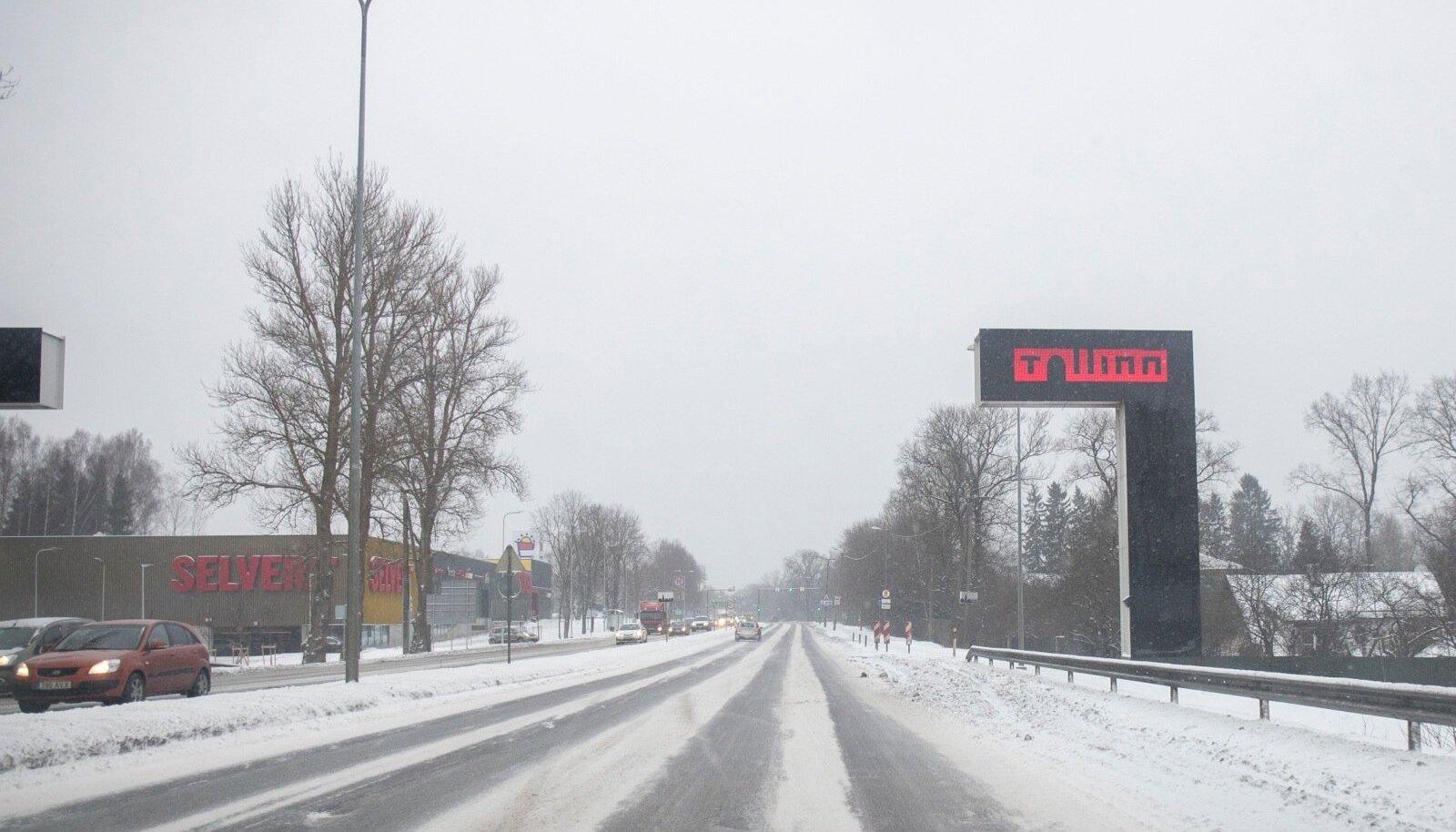 Pärnu maantee Laagris, kus algab teeremont.