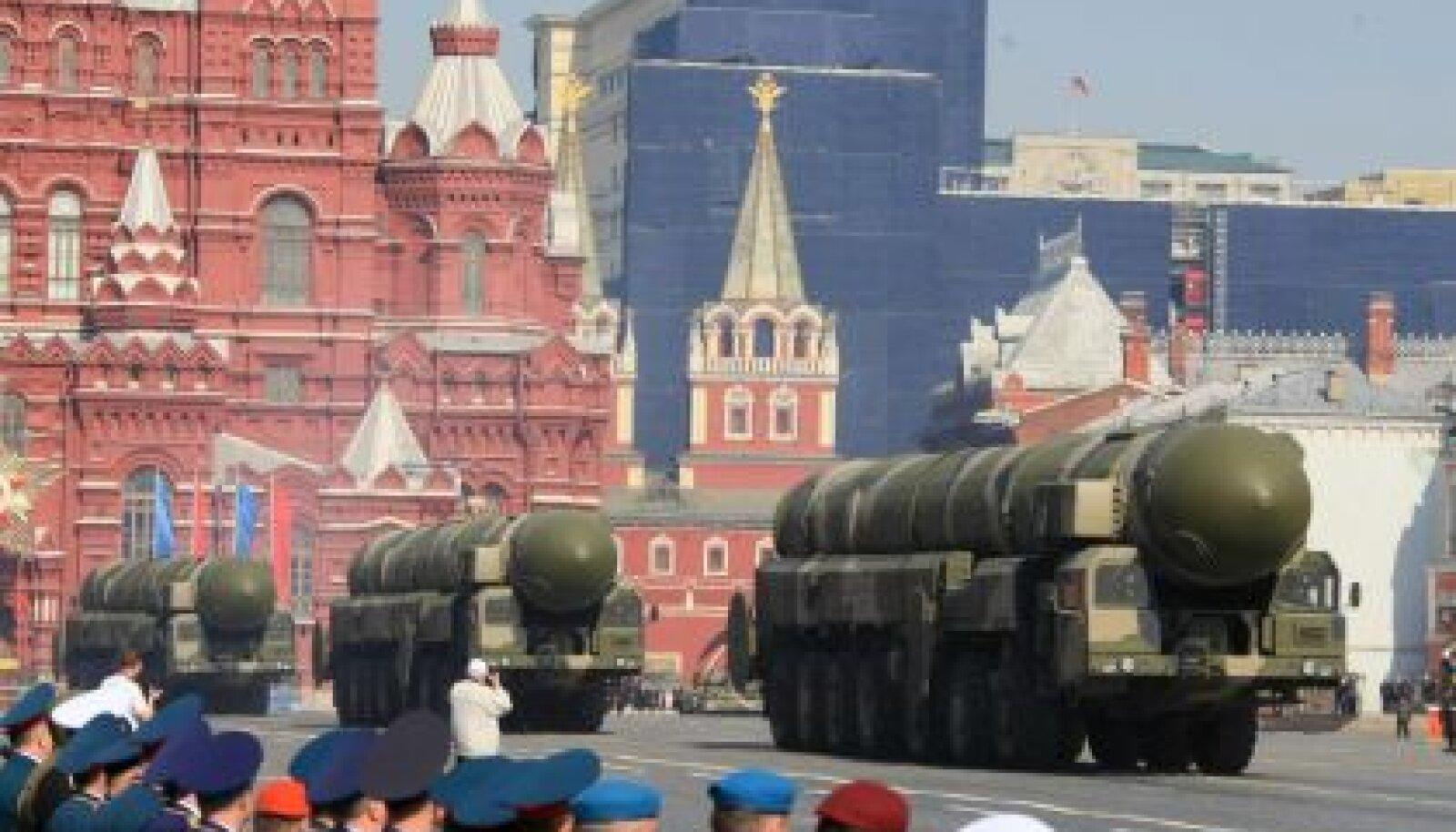 Strateegiline raketikompleks Topol-M Punasel väljakul Moskvas