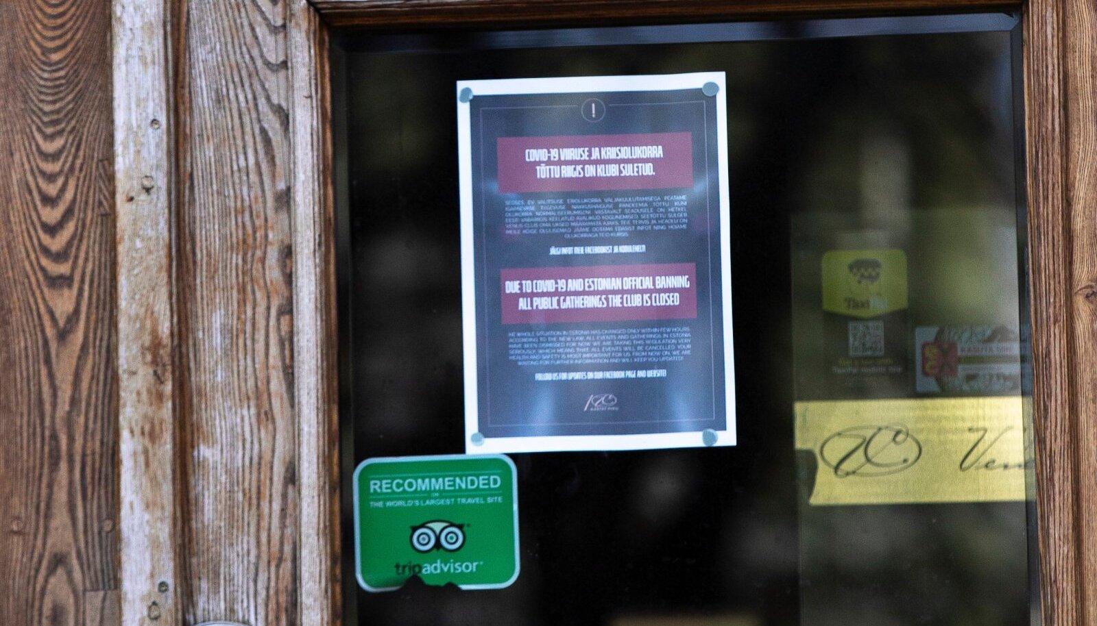 Koroona tõttu suletud ärid.