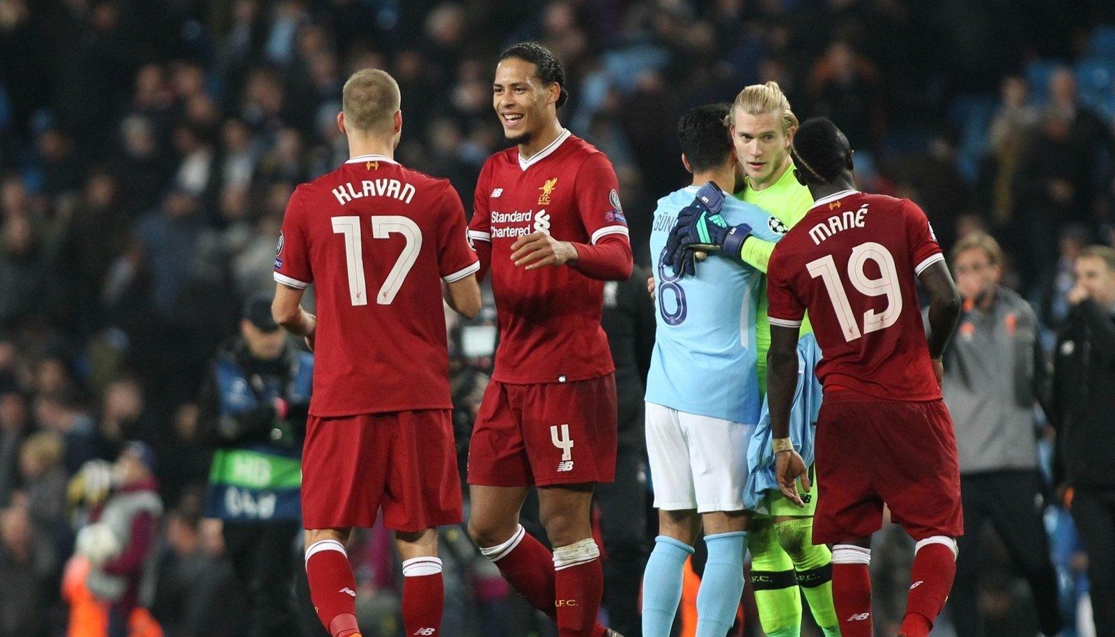 Manchester City v Liverpool UEFA Champions League Quarter Final Virgil van Dijk of Liverpool celebra