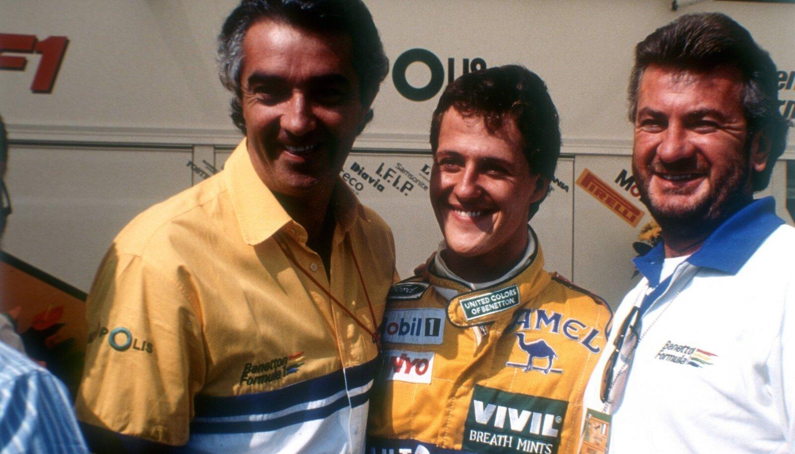 Aasta 1992. Benettoni pealik Flavia Briatore, Michael Schumacher ja tema mänedžer Willi Weber