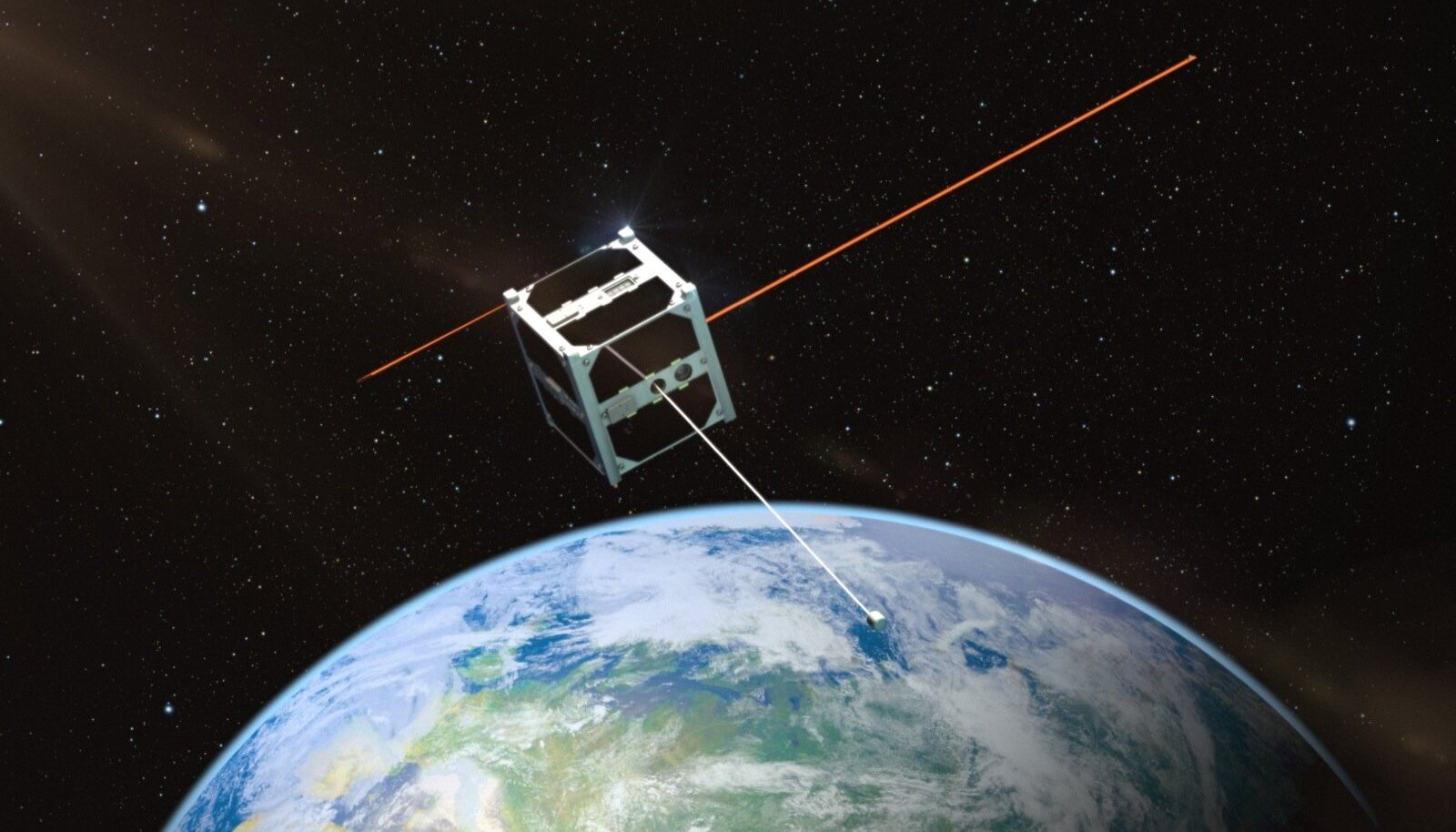 Kunstniku nägemus ESTCube-1-st Maa orbiidil