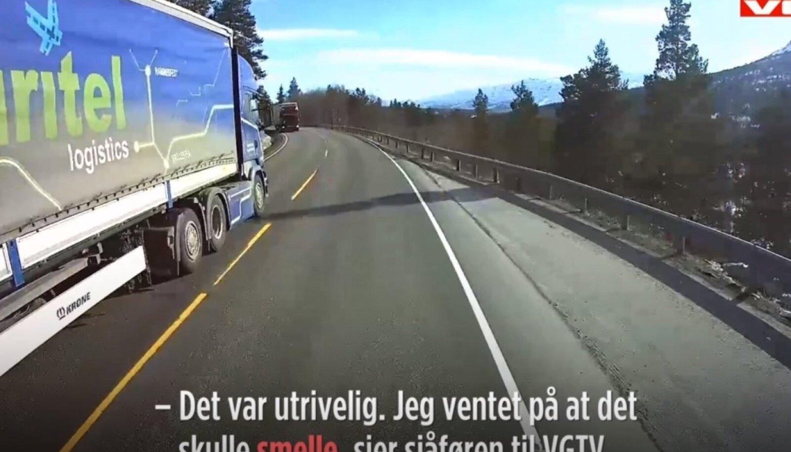 Veoki ohtlik möödasõit Norra fjordides