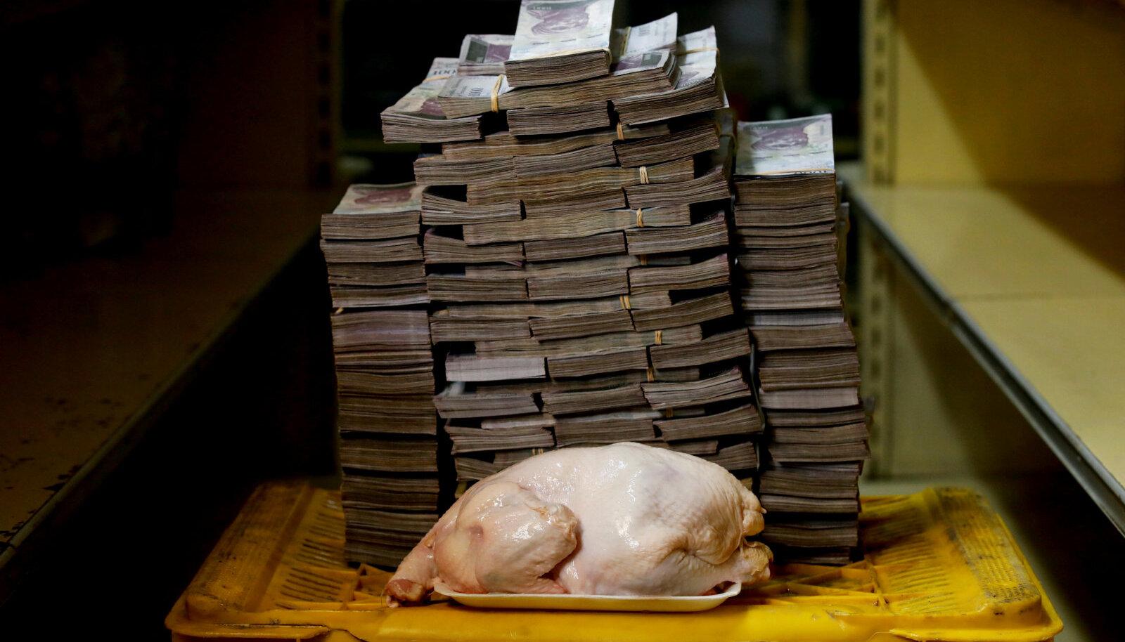 Nii palju Venezuela raha pidi läinud aastal välja käima 2,4 kilogrammise kana eest