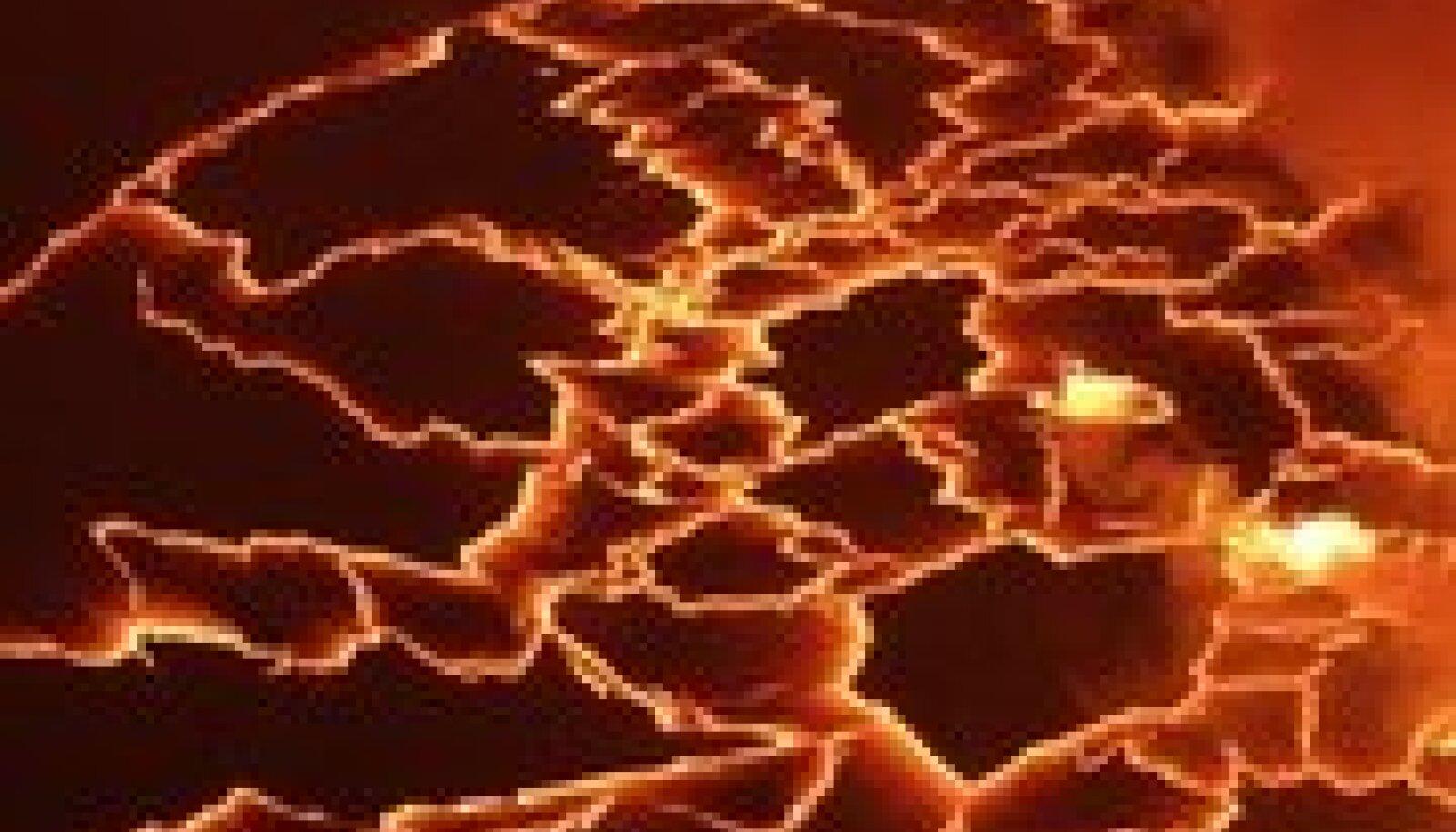 Magma pulbitsemas Aafrika ühe aktiivsema vulkaani Nyiragongo laavajärves. Foto Rebecca Blackwell, AP