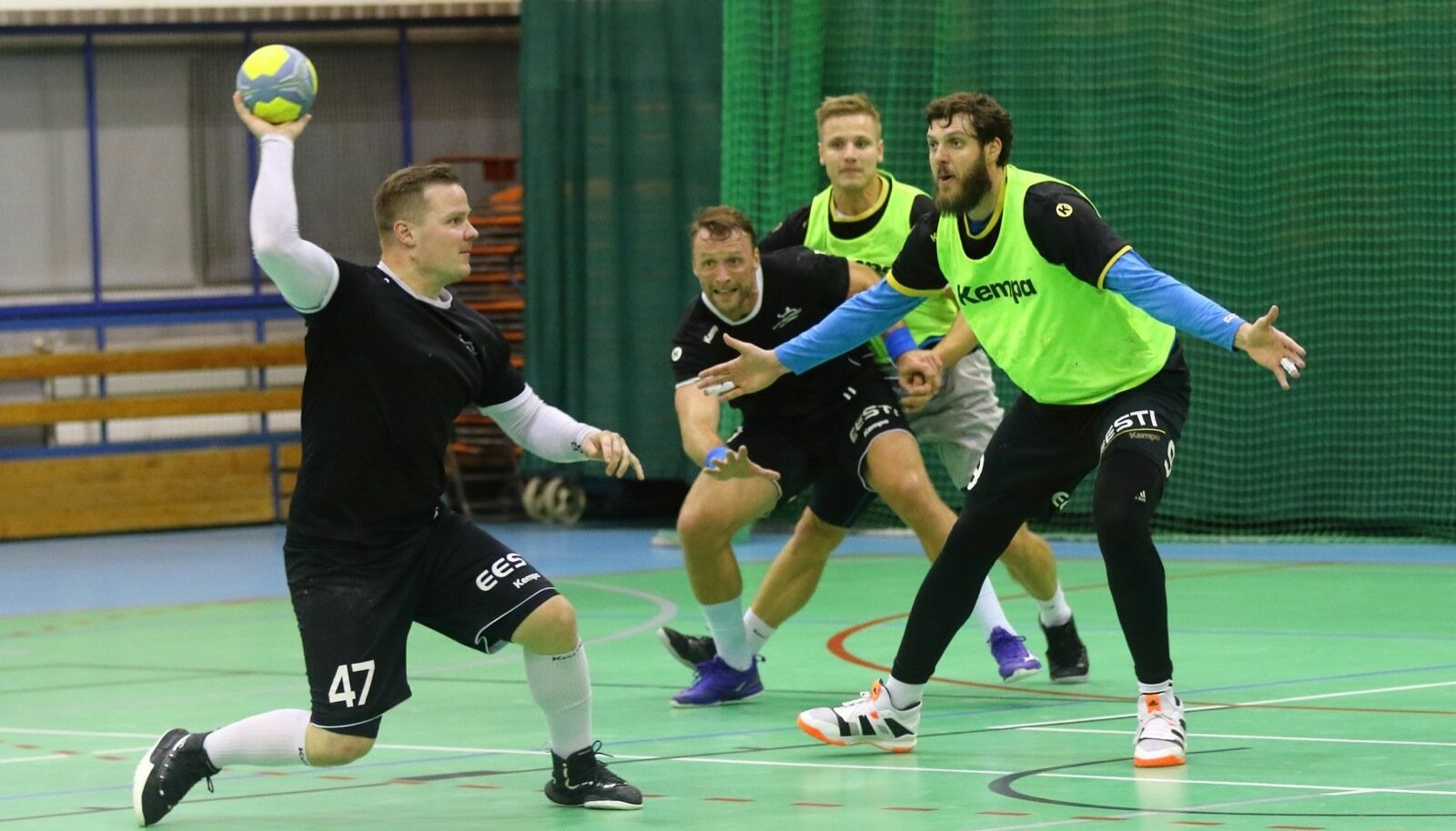 Eesti koondis treeninghoos – Kristo Voika, Martin Johannson, Sten Maasalu ja Mait Patrail.