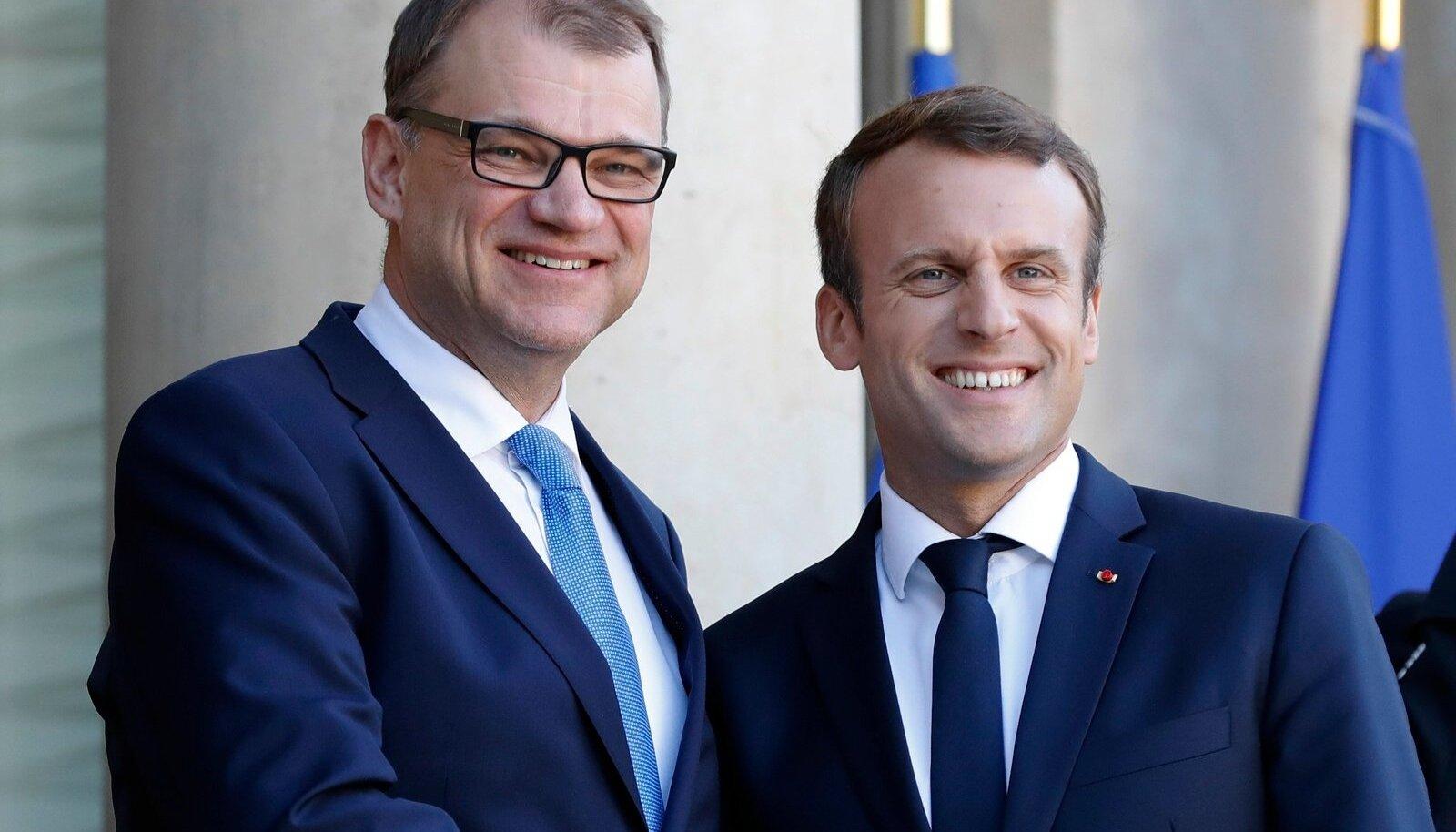 Juha Sipilä ja Emmanuel Macron