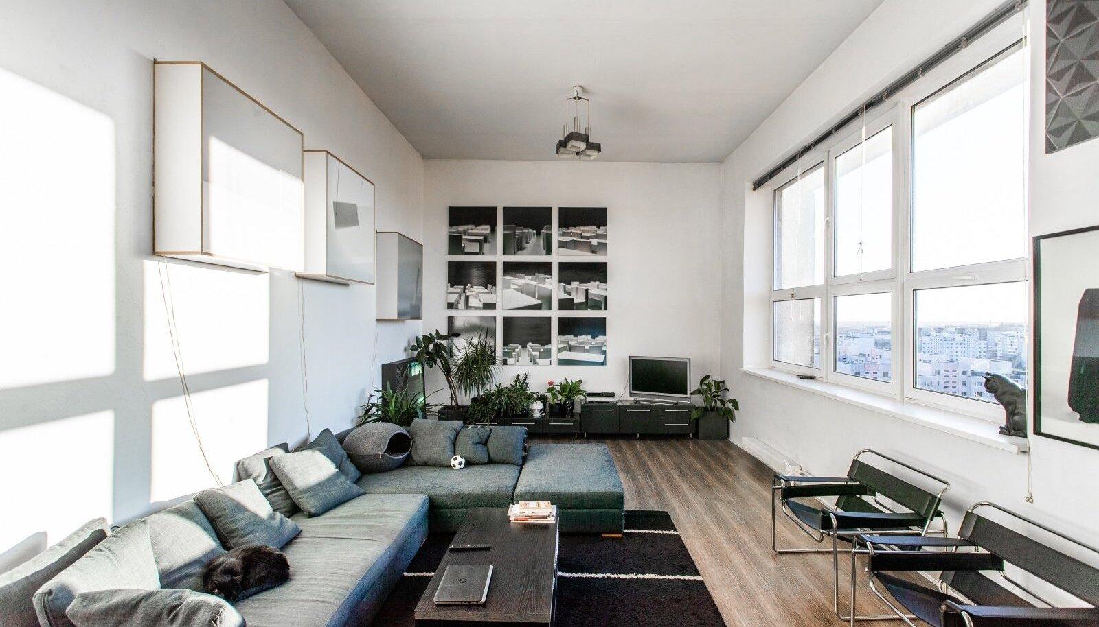Nelja meetri kõrgusse kunagisse ateljeesse on sisse seatud elutuba. Selle tohutul aknal kasvatab aiapidamist nautiv Elin kevaditi kasvuhoone jaoks tomatitaimi.
