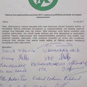 fb82dca6d23 Viis erakonda ja valimisliit allkirjastasid Tallinna korruptsioonivastase  memorandumi