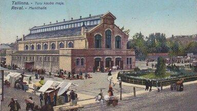 Vaade Uuele turule ja turuhoonele Musumäelt enne Estonia ehituse algust 20. sajandi alguses.
