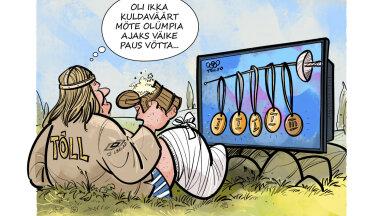 KARIKATUUR   Parvlaev Tõll võttis olümpiaks puhkuse