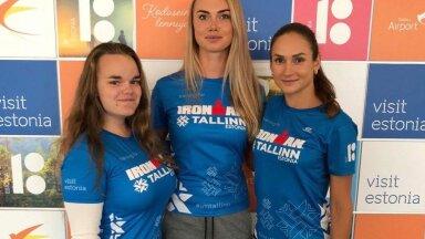 IRONMAN Tallinn triatlonil osalev võistkond FreeSpirit Heli Hiiemäe, Saskia Alusalu ja Kaisa Kukk