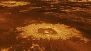 Illustreerival eesmärgil pilt Veenuse pinnast ja kraatrist sellel (Foto: Wikimedia Commons / NASA, JPL)