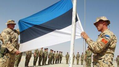 ÜHE PEATÜKI LÕPP: Eesti lipp langetati Helmandi provintsis Camp Bastionis 5. juunil 2014. Kuid sellega sõda ei lõppenud.